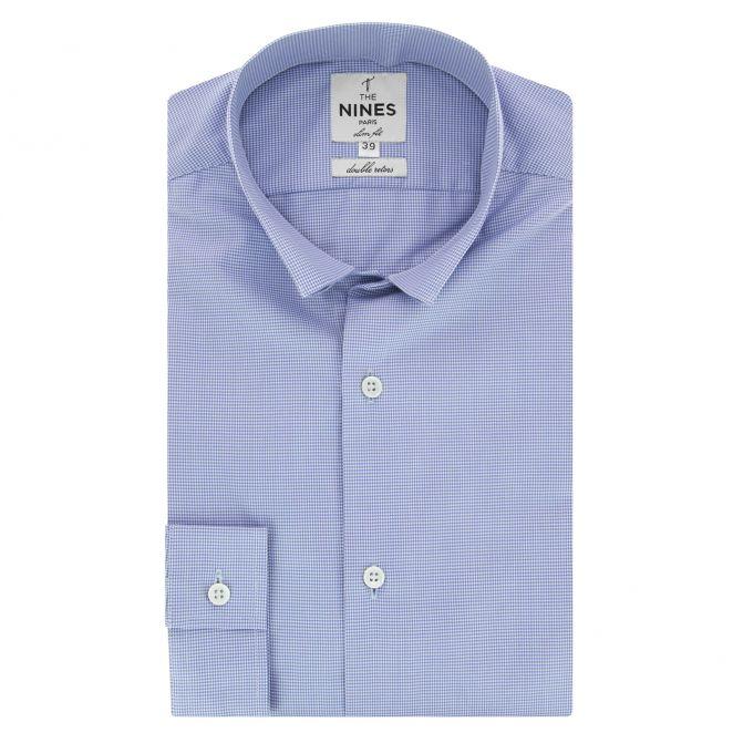 chemise bleue pied de poule col inverse slim fit the nines. Black Bedroom Furniture Sets. Home Design Ideas