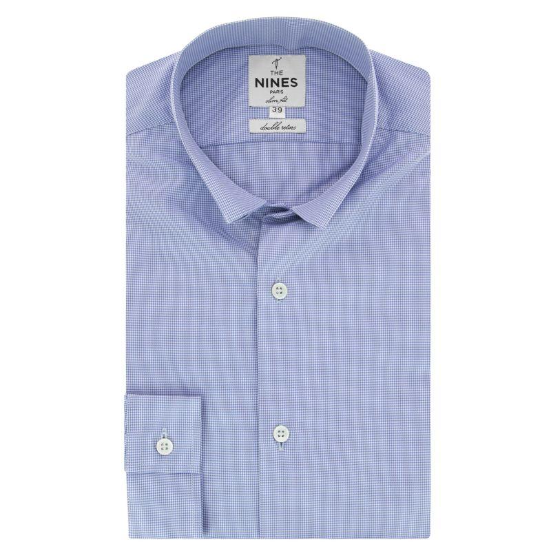 Chemise bleue pied-de-poule col inversé coupe extra slim