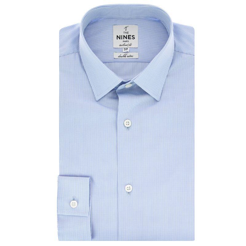 Chemise bleu ciel vichy col japonais