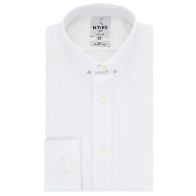Chemise blanche col pin collar slim fit the nines for White shirt with collar pin