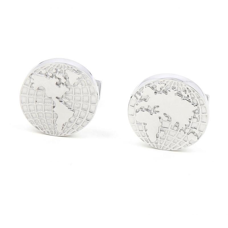Boutons de manchette argent massif mappemonde - Globe trotter II