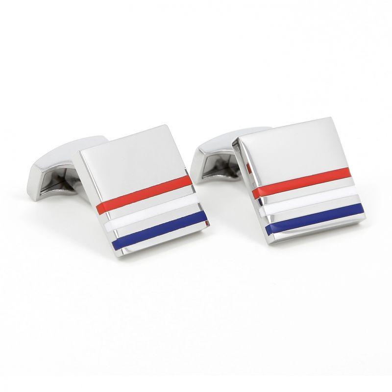Boutons de manchette carrés bleu, blanc, rouge - Kobe V