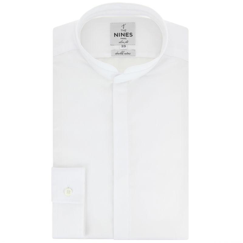 Chemise blanche col officier arrondi slim fit