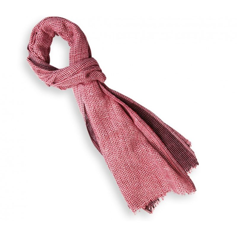 3e1b55de4cdf Echarpe en lin à carreaux rouges et blancs - Le Comptoir du Foulard