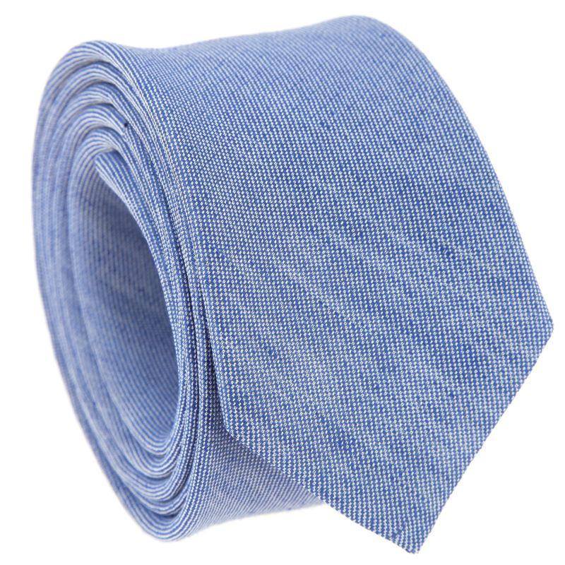 Cravate en soie et lin nattée bleu denim The Nines