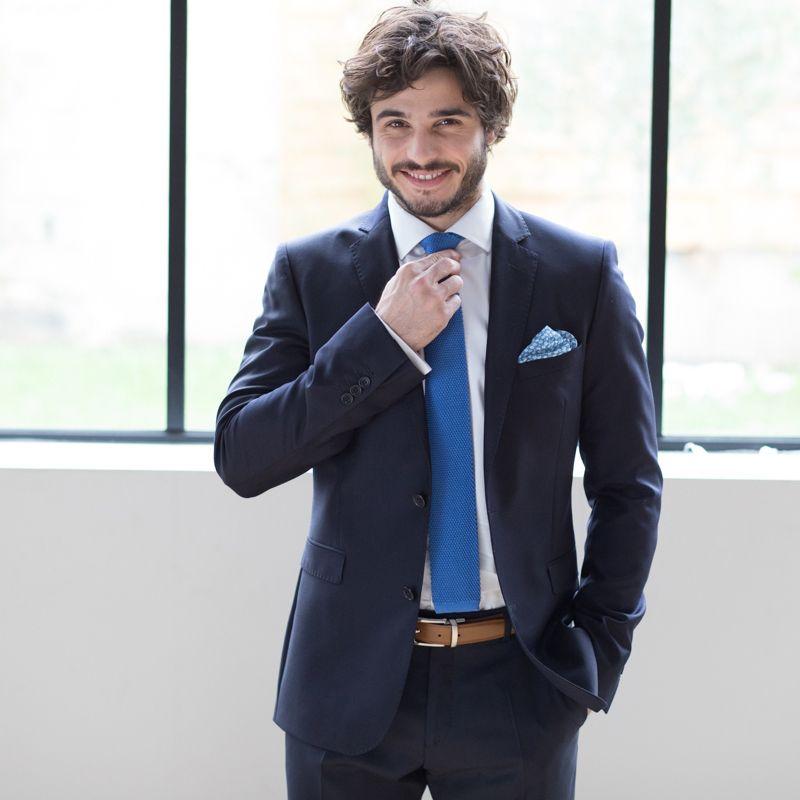 000bc19ea1de2 Cravate bleu saphir en tricot de soie Monza - The Nines