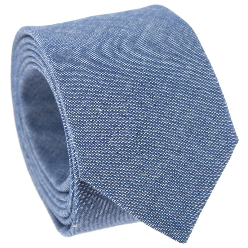 Cravate bleu en chambray The Nines
