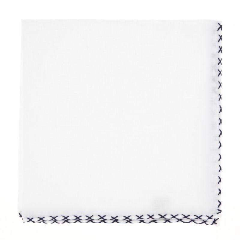 pochette blanche bordure surpiqu e bleu the nines. Black Bedroom Furniture Sets. Home Design Ideas