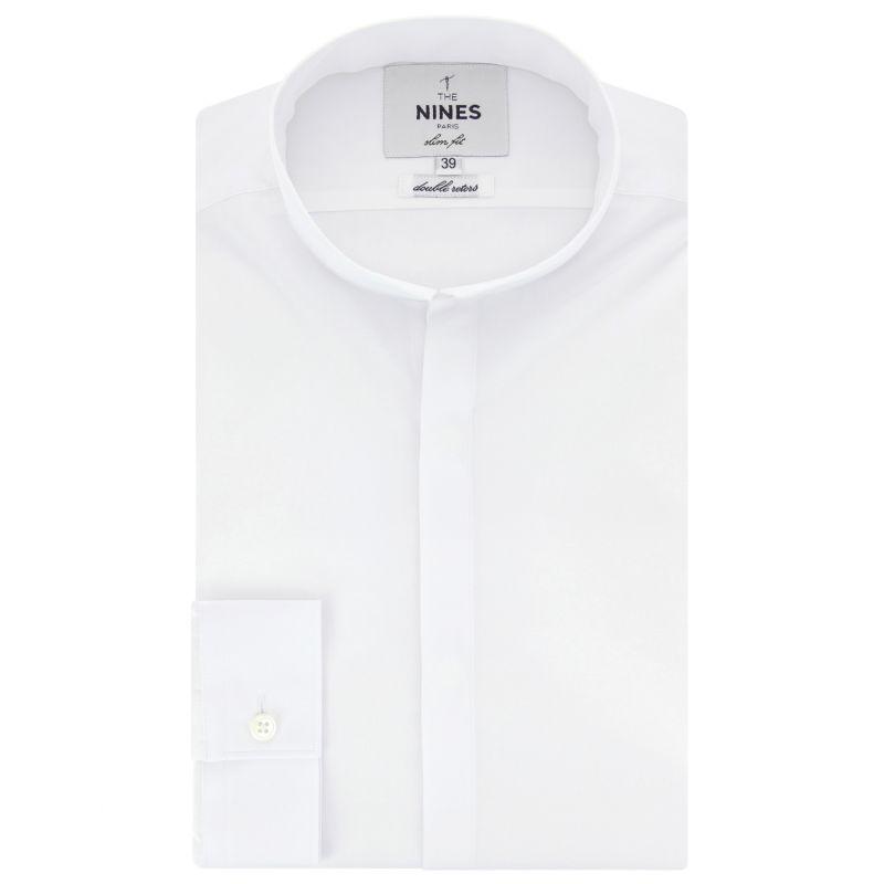 Chemise blanche col inversé slim fit