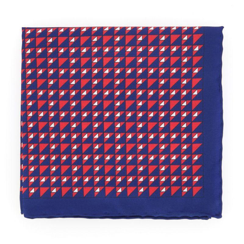 Pochette corail à carrés bleu marine en soie The Nines