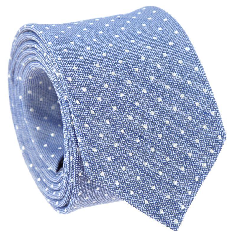 Cravate bleue à pois en soie et lin nattés The Nines