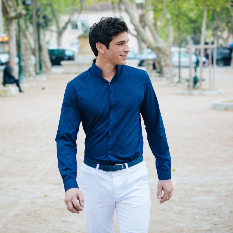 chemise bleue pois col invers slim the nines. Black Bedroom Furniture Sets. Home Design Ideas