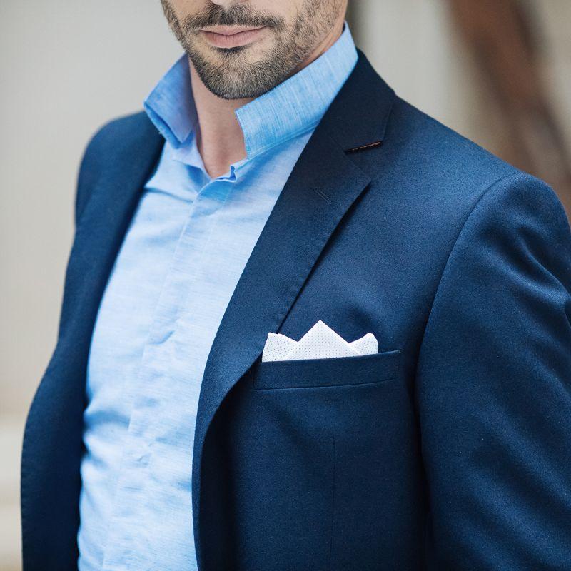 chemise bleue en lin col invers slim the nines. Black Bedroom Furniture Sets. Home Design Ideas