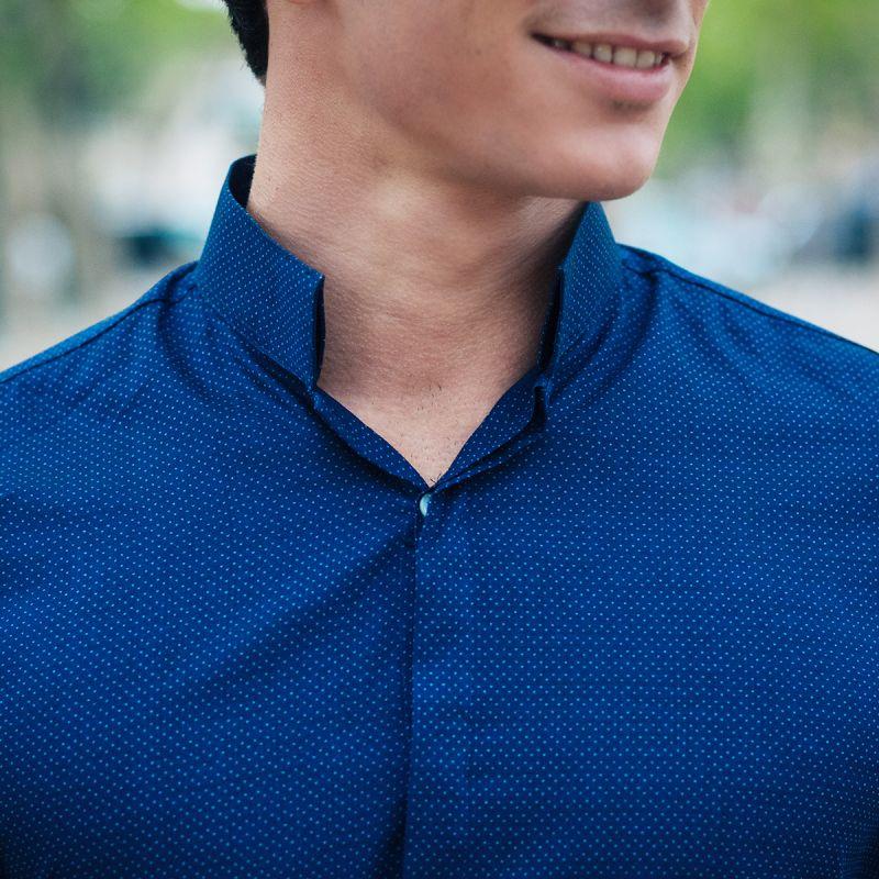 chemise bleue pois col invers regular the nines. Black Bedroom Furniture Sets. Home Design Ideas