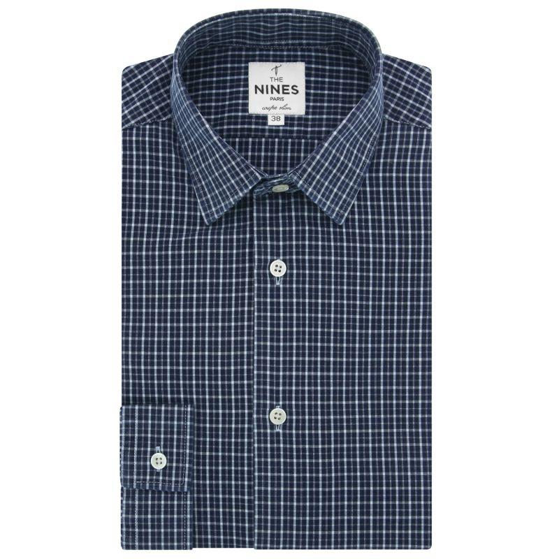 Chemise bleue à carreaux col japonais slim