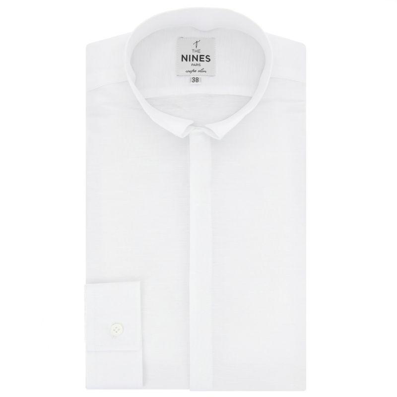 chemise blanche en lin col invers slim the nines. Black Bedroom Furniture Sets. Home Design Ideas