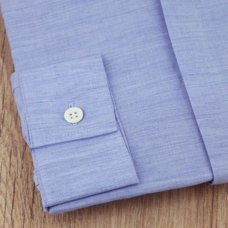 chemise bleue en lin col invers regular the nines. Black Bedroom Furniture Sets. Home Design Ideas