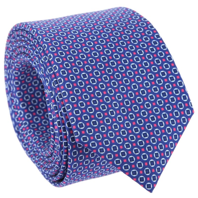 Cravate bleu nuit à motifs ronds et carrés bleu marine et roses The Nines