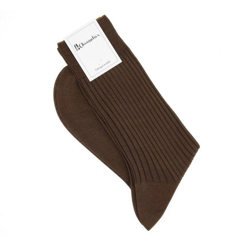 Chaussettes fil d'ɐcosse marron