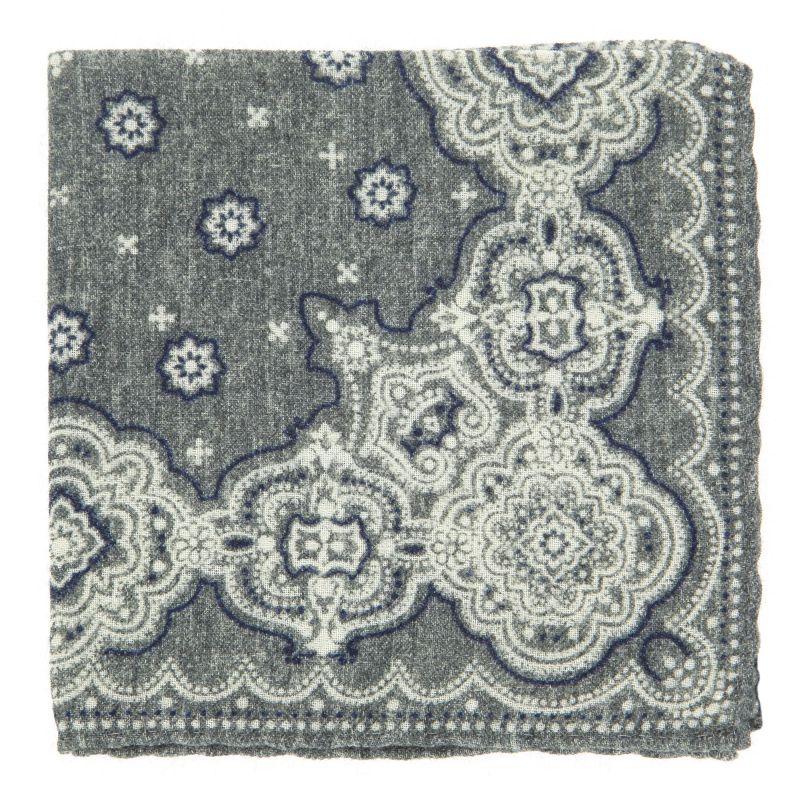 Pochette grise à motifs cachemire en laine The Nines
