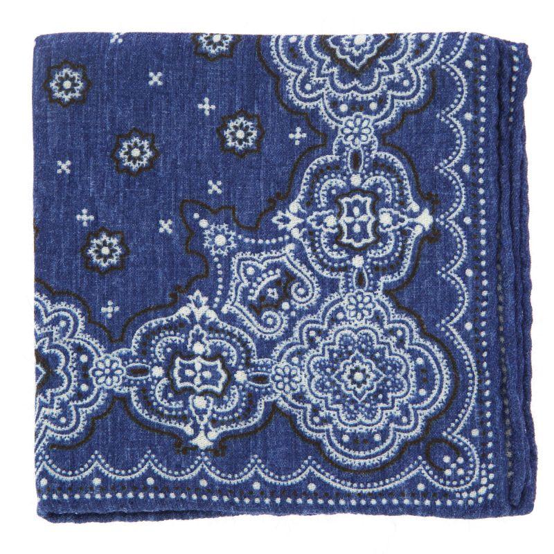 Pochette bleu denim à motifs cachemire en laine The Nines