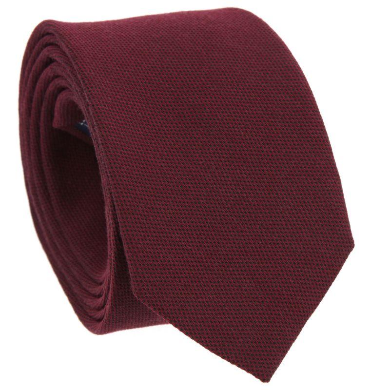 Cravate bordeaux en soie et laine nattées The Nines