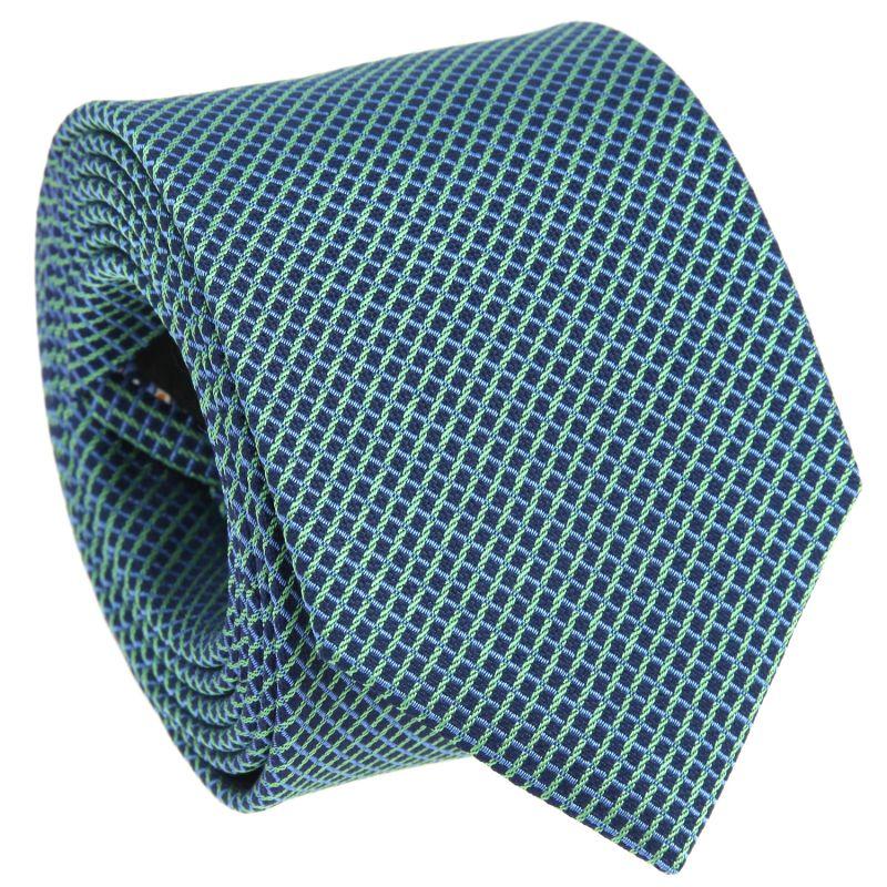 Cravate bleu marine à carrés bleu ciel et verts en soie nattée The Nines