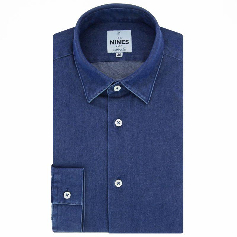 Chemise bleue en denim brut col japonais coupe slim