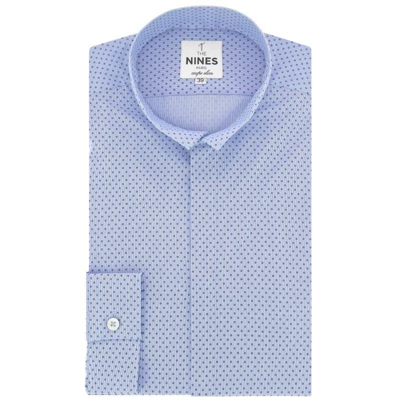 Chemise bleu ciel à pois col inversé coupe slim