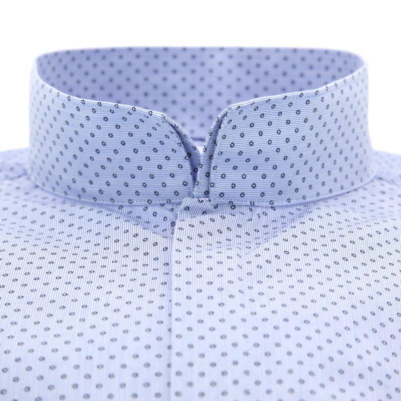 chemise bleu ciel pois col invers coupe slim the nines. Black Bedroom Furniture Sets. Home Design Ideas