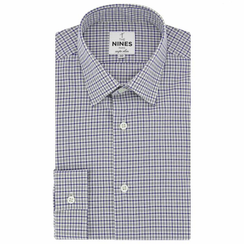 Chemise blanche à carreaux bleus et gris col japonais coupe slim
