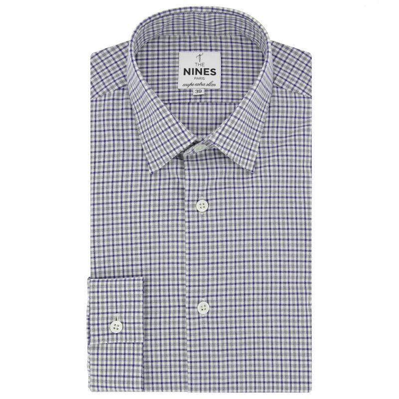 Chemise blanche à carreaux bleus et gris col japonais coupe extra slim