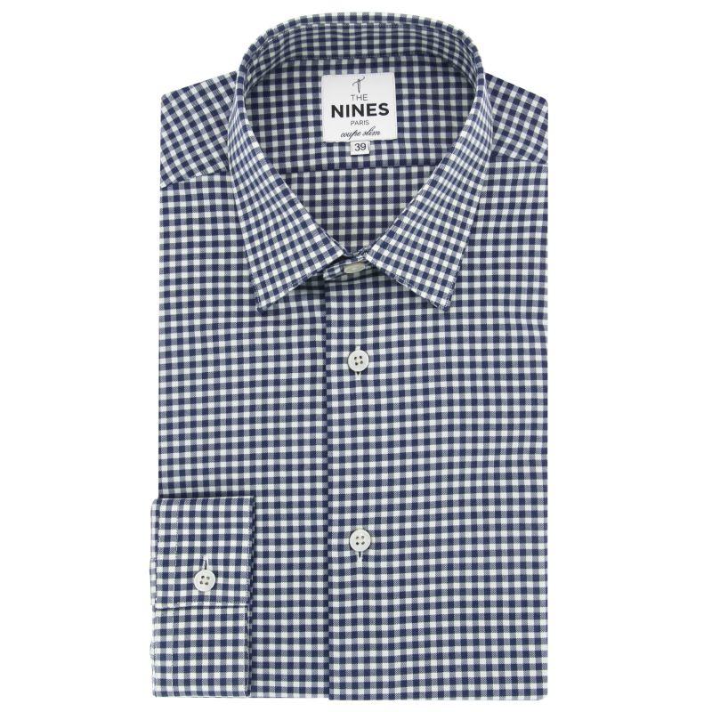 Chemise blanche à carreaux bleus col japonais coupe slim