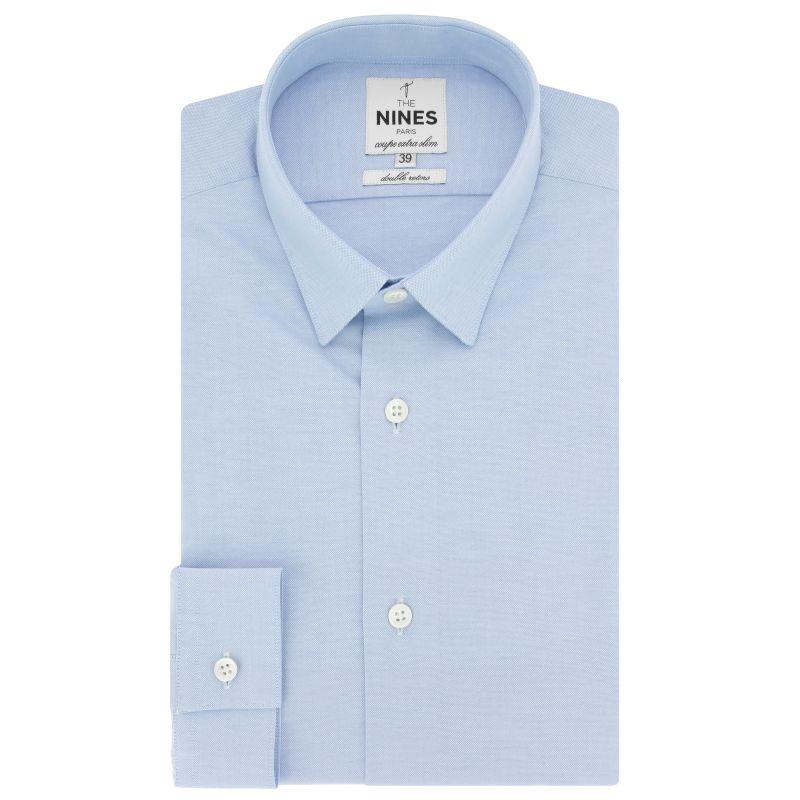 Chemise bleu ciel en oxford petit col coupe extra slim