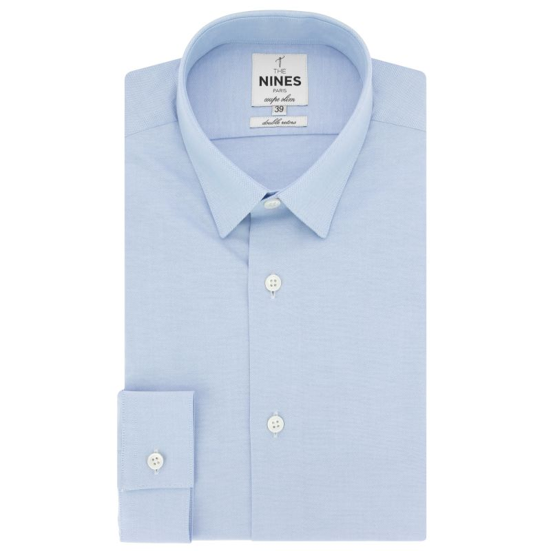 Chemise bleu ciel en oxford petit col coupe slim