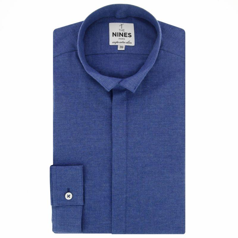 chemise bleu fonc e en flanelle col invers coupe extra slim. Black Bedroom Furniture Sets. Home Design Ideas