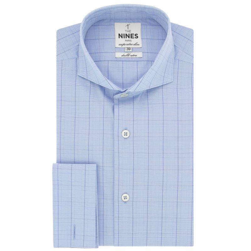 Chemise bleu ciel en Prince de Galles col cutaway coupe extra slim