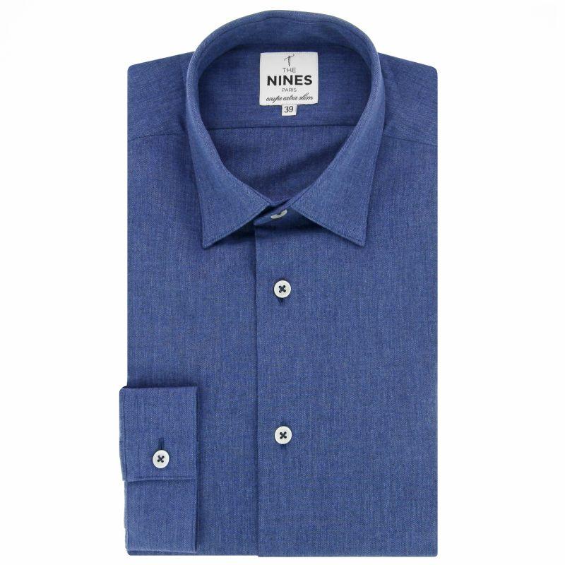 Chemise bleue en flanelle col japonais coupe extra slim