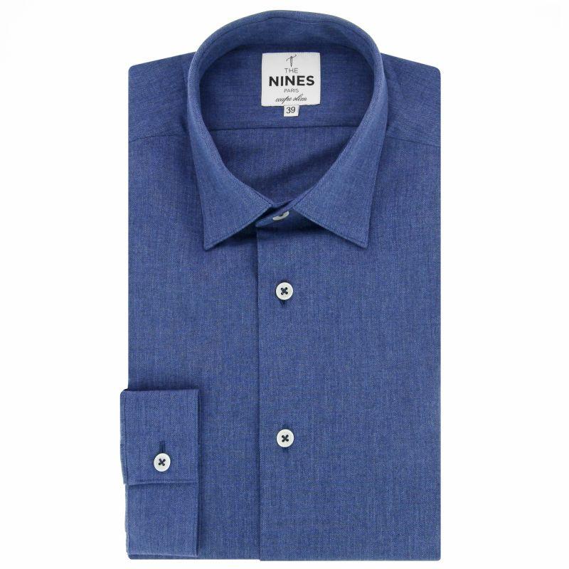Chemise bleue en flanelle col japonais coupe slim