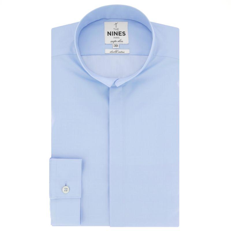 Chemise bleu ciel col inversé