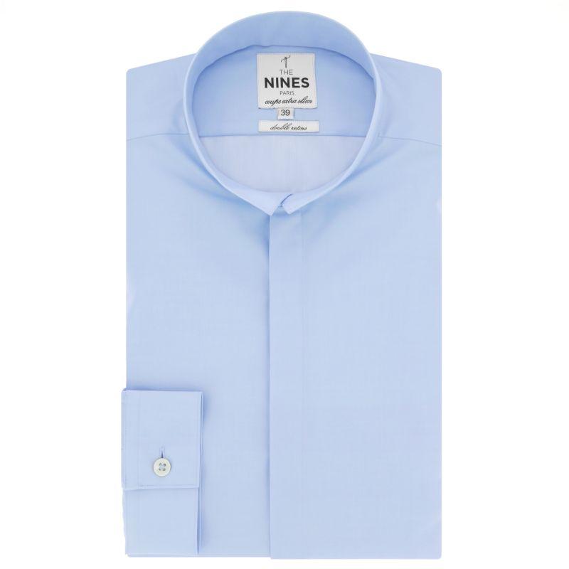 Chemise bleu ciel col inversé coupe extra slim