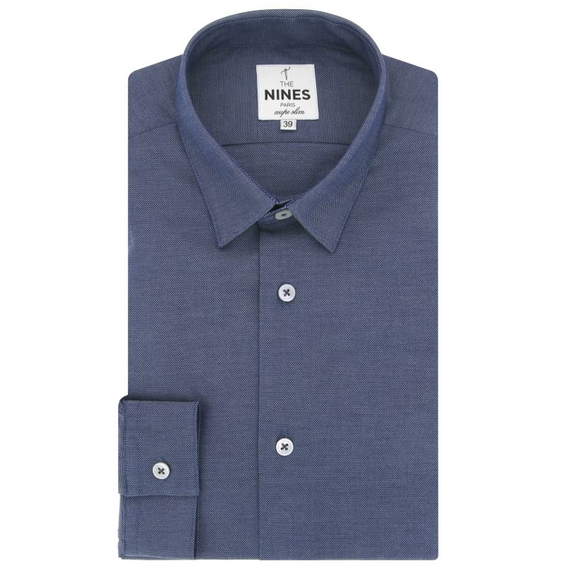 Chemise bleu marine en chambray petit col coupe slim