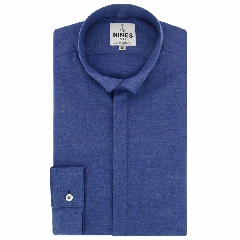 chemise bleu fonc en flanelle col invers coupe regular the nines. Black Bedroom Furniture Sets. Home Design Ideas