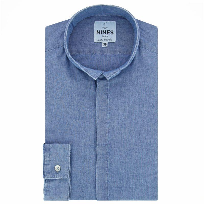 Chemise bleue en chambray col inversé coupe regular