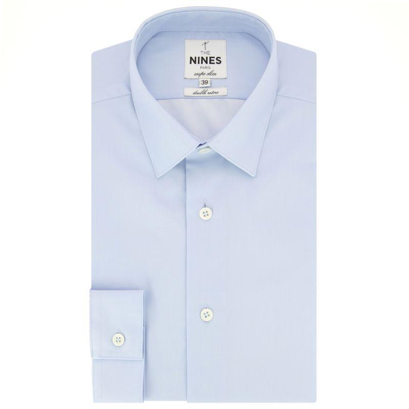 Chemise bleu ciel en twill col japonais coupe slim