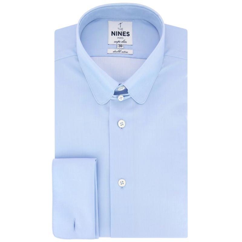 Chemise bleu ciel col anglais arrondi coupe slim