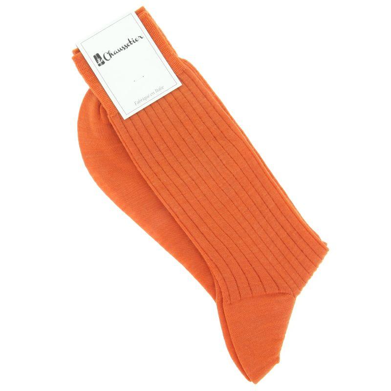 Chaussettes laine vierge orange mandarine