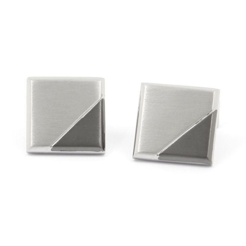 Boutons de manchette carre argent brosse avec triangle gunmetal brosse - Ulm