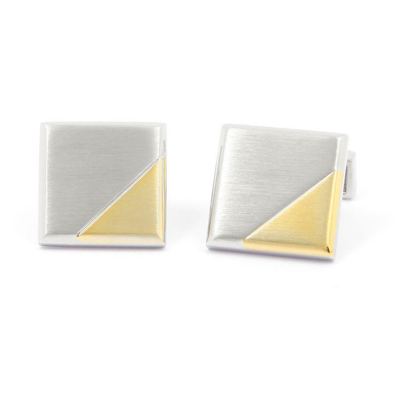 Boutons de manchette carre argent brosse avec triangle or brosse - Ulm
