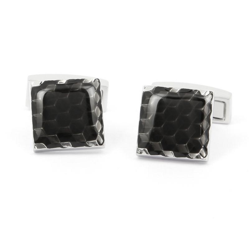 Boutons de manchette carré noir à petits carreaux - Braga